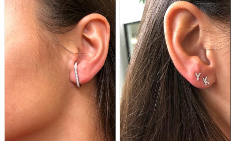 Culet, mooie combinatie van culet oorbellen. Goud met diamant. Super cool om oorbellen ook eens op een andere manier te dragen.