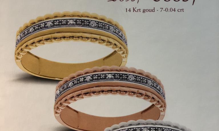 Mooie aanbiedingen voor de Moederdag. Gouden ringen met diamant. De ringen zijn leverbaar in verschillende kleuren goud.