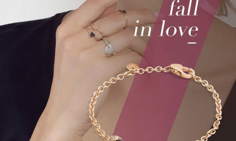 DoDo Jewels by Pomellato, rosé gouden armband met zwarte diamant.