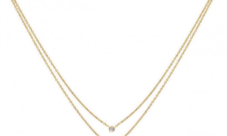 Nieuw collier van Culet. Dubbel goud collier met diamant. Leverbaar met verschillende symbolen en letters.