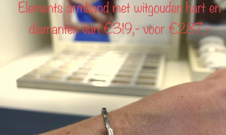 Actie elements of my life. Deze zilveren armband met witgouden hart en twee keer witgouden schakel met diamant van €319,- voor €287,-.