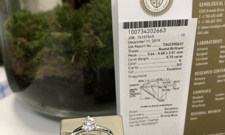 Witgouden solitair ring met een 0,70crt. diamant. Word geleverd met een GIA certificaat. De certificaten van de GIA zwoeren wereld wijd het meest gewaardeerd.
