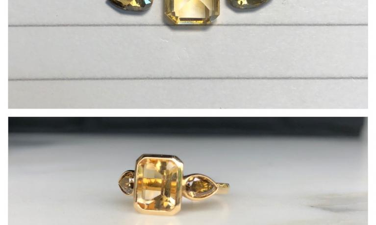 Uit eigen atelier, ring met citrien en diamant.