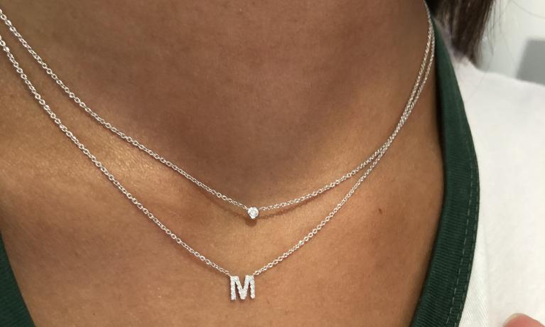 Witgouden collier met diamant van Culet.