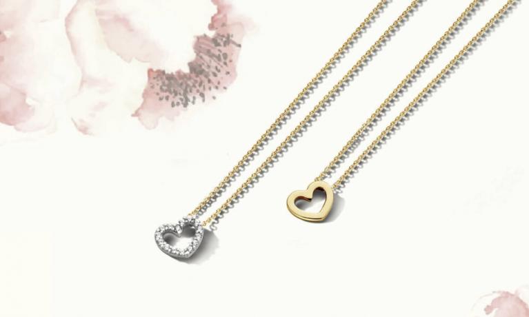 Blush, gouden colliers met hartje