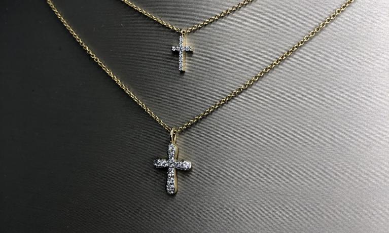 Fijne gouden colliers met diamant