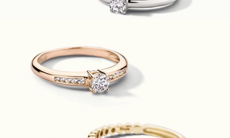 Blush, gouden ringen in geelgoud, witgoud en rosé goud. Blush heeft een collectie met zirkonia en collectie met diamanten ringen.