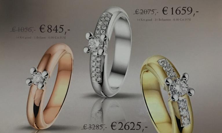 Op black friday proberen wij te stralen. Mooie kortingen op deze gouden ringen met diamant.